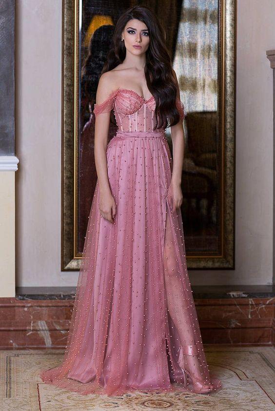 ροζ_μακρύ φόρεμα_με_στρας_