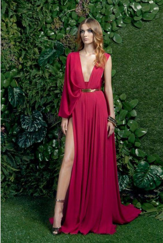 μπορντό_μακρύ φόρεμα_για_νονά_