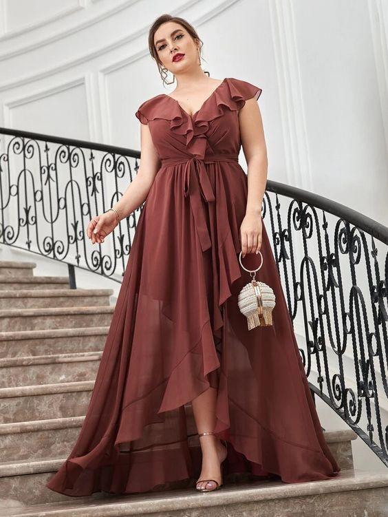 καφέ_plus_size_φόρεμα_