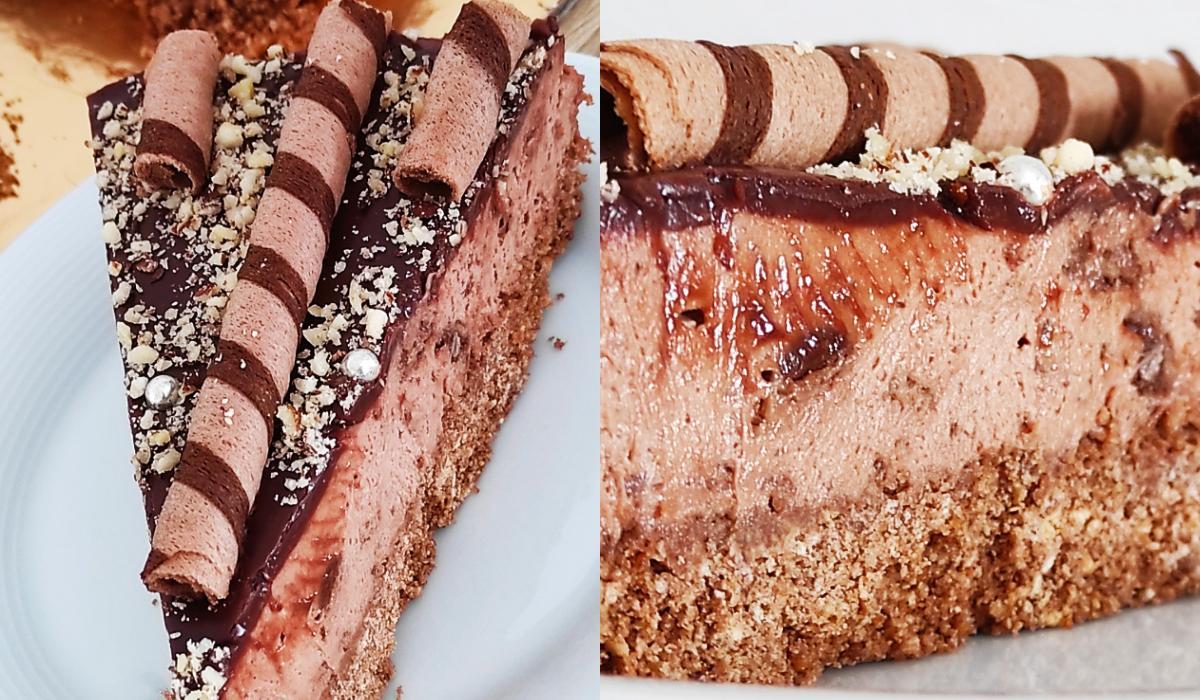 Cheesecake με πραλίνα φουντουκιού και πουράκια_
