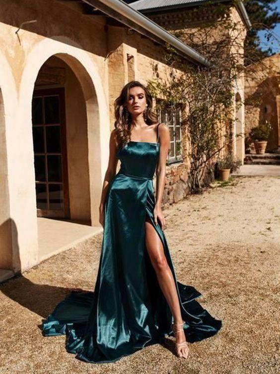 πετρόλ_μακρύ φόρεμα_