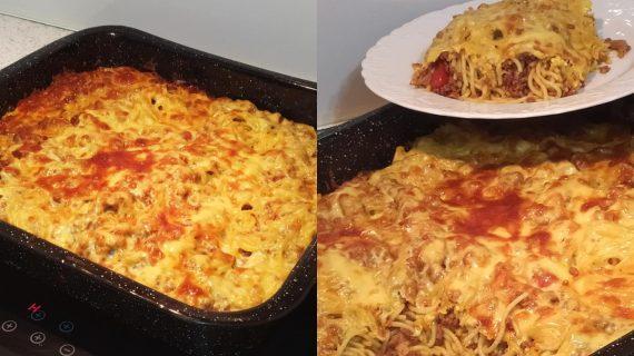 Μακαρονάδα φούρνου_με κιμά_και_μανιτάρια_