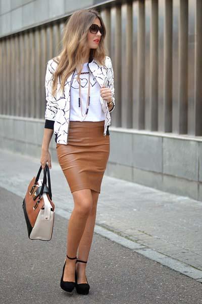 καφέ-δερμάτινη φούστα-ιδέες-