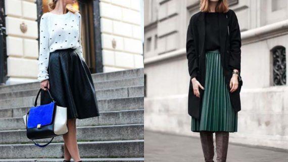 Δερμάτινη φούστα-γυναικεία-μόδα-Φθινόπωρο Χειμώνας-2021 2022-