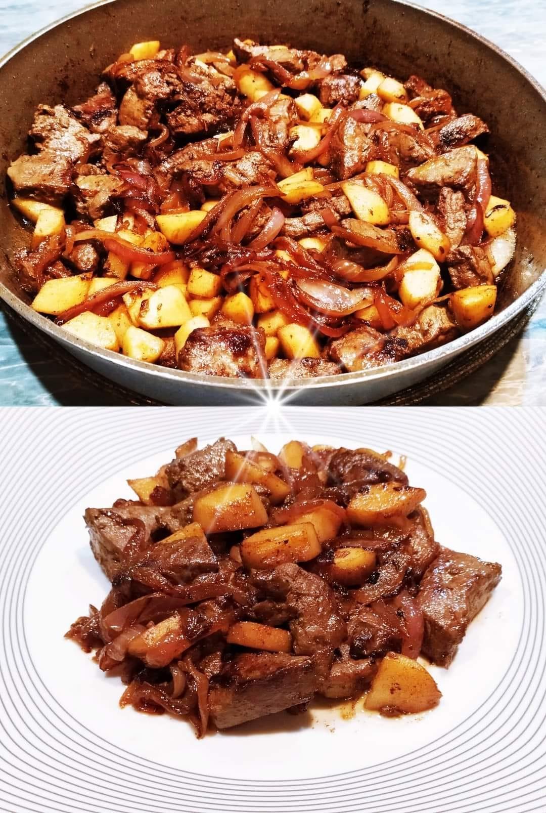 Συκώτι- στο -φούρνο- με- μήλα- και- κρεμμύδια-