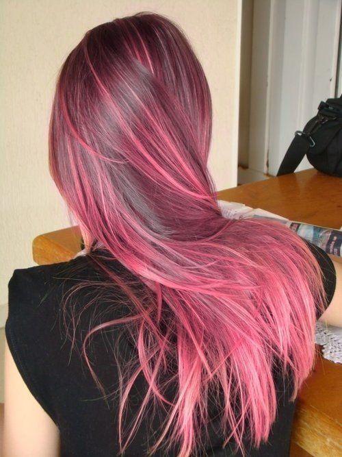 ροζ-ανταύγειες-σε-καστανά-μαλλιά-