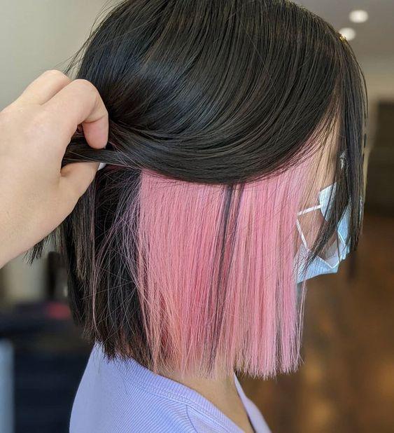 ροζ-ανταύγειες-σε-μαύρα-μαλλιά-
